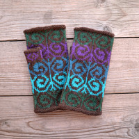 Knit Blue and Green Fingerless Gloves - Bohemian Gloves - Colorful Fingerless Gloves - Wool Fingerless Gloves