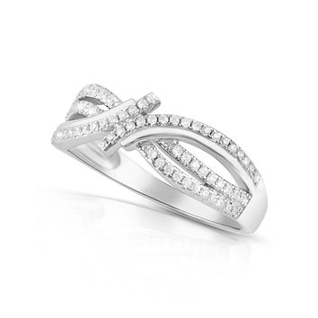 Sterling Silver Simulated Diamond Abstract Infinity Ring