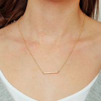 Gold Bar Necklace by KnitPopShop