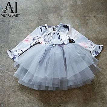 Girl Dress Flower Print Kids Tulle Costume For Girl Party Clothes Children Tutu Outfits Baby Wear