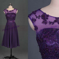 2014 grape chiffon prom dresses with applique lace,chic tea length gowns for holiday party,latest cheap bridesmand dress under 100.