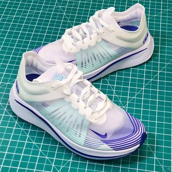 Nike Lab Zoom Fly SP White Blue Sport Running Shoes - Best Online Sale