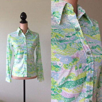 Vintage Charming Top Houses in the Meadow and Hills Blouse Small 1960's
