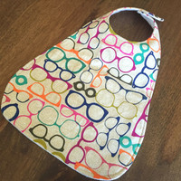 Toddler Girl Bib,  Large Cotton Baby Bib, Snap or Velcro Closure, Hipster Baby, Funky Glasses