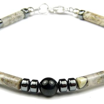 Mens Root Chakra Bracelet:  FOCUS, DETERMINATION & COURAGE Healing Crystal Bracelet