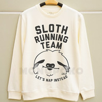 S M L -- Sloth Running Team TShirts Funny TShirts Cool Sweatshirt Tee Jumpers Long Sleeve TShirts Sweater Unisex Women TShirts Men TShirts