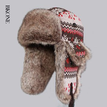 Trapper Hat Snowflake Earflaps Russian Bomber Hat