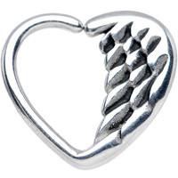 """16 Gauge 3/8"""" Angel Wing Heart Closure Daith Cartilage Tragus Earring"""