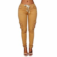 Women Skinny Jeans Pants Female Casual Drawstring Elastic Pencil Pants Pants Harem Cargo Pants Trousers