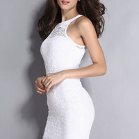 White Sleeveless Round Neckline Lace Dress with Buttons Detail