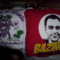 Handmade DECORATIVE PILLOWS Recycled and Made From Your Up-Cycled TeeShirt or Sweatshirt
