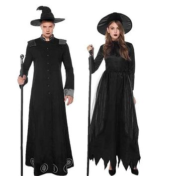MOONIGHT Halloween couples Costumes Gothic Wizard Costume European Religious Men Priest Uniform Fancy Cosplay Costume for