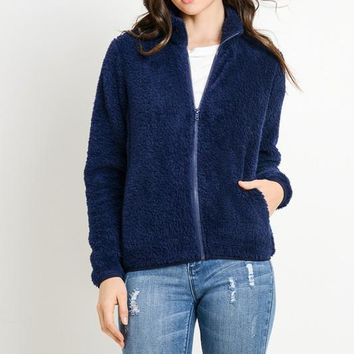 Fleece Zipper Jacket - Navy