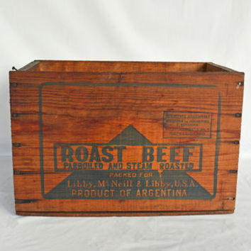 Vintage Wood Crate, Wooden Crate for Shipping, Vintage Libby's Roast Beef Storage Crate, Wooden Advertisement Box