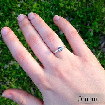 Alexandrite and Silver Ring, Engagement Ring, June Birthstone, Promise Ring, Four-Prong Tiffany-Set Ring, Wedding Ring Set, Free Shipping