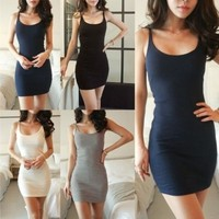 NEW Womens Long Vest Shirt Sleeveless Top Cami Strap Bodycon Mini Dress Skirt = 1956686020