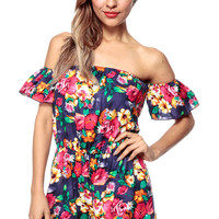 Ethnic Florals Off Shoulder Romper
