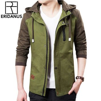 Brand Jacket Men 2017 Fashion Male Jackets Zipper Military Jacket Coats Slim Fit Mens Jackets Windbreaker With Hat 3XL X384