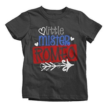 Shirts By Sarah Boy's Little Mister Mr. Romeo Funny Valentines Day T-Shirt