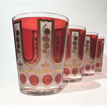 Cera Double Old Fashioned,Cera Rocks Glasses, CGP26 Cera Red and Gold Vintage Cera Tumblers, Retro Barware, Bar cart