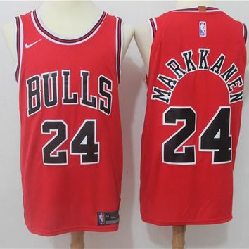 Best Deal Online NBA Authentic Basketball Player Jerseys Chicago Bulls # 24 Lauri Markkanen Red