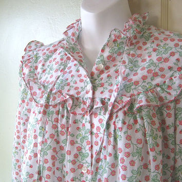 Strawberry Print Nightgown; XL/14-16 - Red/Green Wild Strawberry Print Nightie - Long Cotton Blend Ruffled High Neck Nightie - Mom Gift