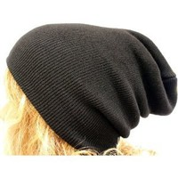 Amazon.com: Slouch Beanie Slouchy Hat Ribbed Skull Cap Ski Snowboard Hat Black: Everything Else
