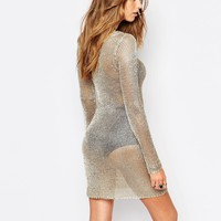 Missguided Metallic Knitted Dress