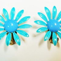 Vintage Turquoise & Blue Enamel Daisy Clip On Earrings | Vintage Flower Earrings