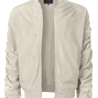 LE3NO Mens Lightweight Nylon Hipster Windbreaker Zip Up Bomber Jacket with Pockets (CLEARANCE)