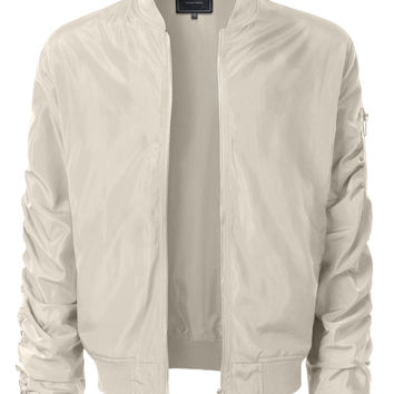 LE3NO Mens Lightweight Nylon Hipster Windbreaker Zip Up Bomber Jacket with Pockets