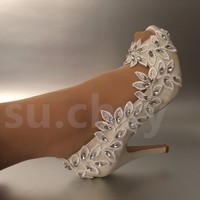 "Womens 4"" heel white ivory lace Olive branch open toe Wedding shoes"