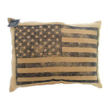 Garden Burlap Flag Pillow Patriotic Accent Pillow