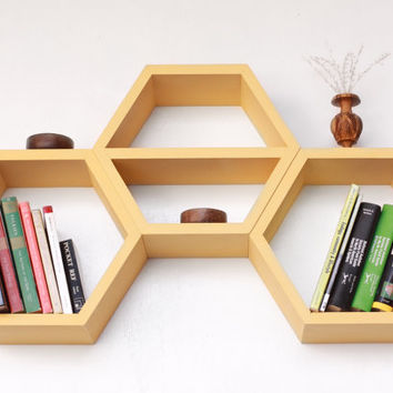 Geometric Wood Shelf - Middle Shelf Hexagon - Set of Three Honeycomb Shelves - Mid Century Modern Design Ideas