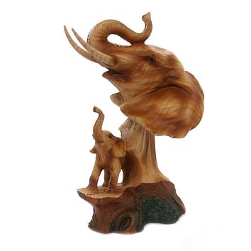 Animal ELEPHANT SCENE WOODLIKE CARVING Polyresin Baby Family Mmh463