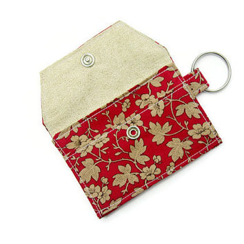 Mini key chain wallet/ simple ID Key chain pouch / keychain coin purse / Business card holder / Asian Red floral and cream curl pattern