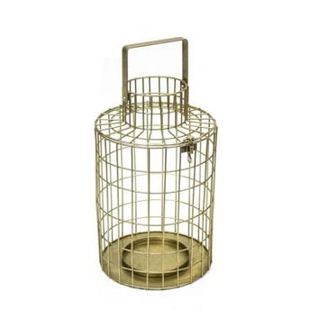 Cage Styled Metal Lantern, Gold -SageBrook Home