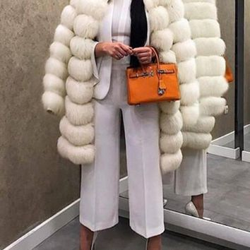 New White Striped Faux Fur Long Sleeve Casual Cardigan Coat