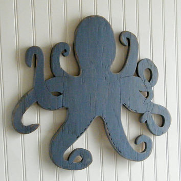 Octopus Wooden Sign Beach Coastal Wall Art