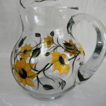 Hand painted Pitcher-Large Serving Pitcher-Sunflowers