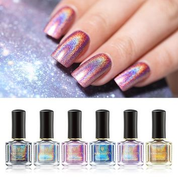 BORN PRETTY 6ml Deluxe Holographic Nail Polish Purple Blue Green Laser Glitter Nail Lacquer 10 Colors Varnish Polish