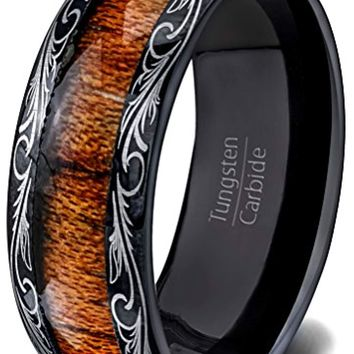 CERTIFIED 8MM  Black Tungsten Ring Wood Inlay Pattern Dome Wedding Band