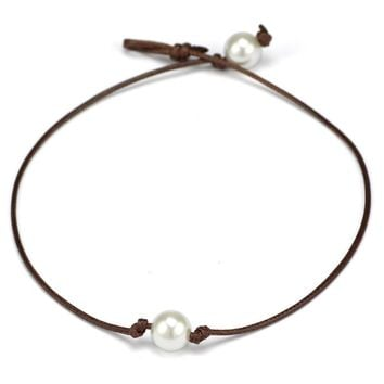 Freshwater Cultured Simulated Leather Single Pearl Necklace For Women