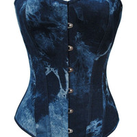 100% Cotton  Denim Sexy Strong Boned Overbust Corset Bustier Blue