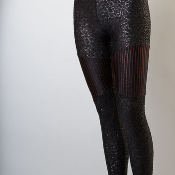 Black All-Over Sequined Leggings With Black And Red Glitter Pinstriped Inserts, Women's Leggings, Goth Leggings, EDM Clothing