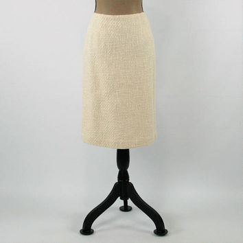 Cream Skirt Women Medium Tweed Skirt Pencil Skirt Midi Skirt Straight Skirt Size 10 Skirt Talbots Vintage Clothing Womens Clothing