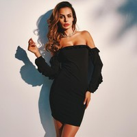 Simple Fashion Solid Color Bodycon Off Shoulder Long Sleeve Stitching Frills Strapless Mini Dress