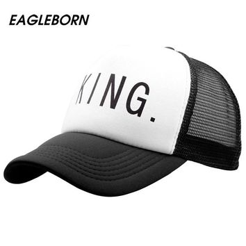 [EB] 2018 new Hot Sale KING QUEEN Print Trucker Caps Men Women Mesh Summer Flat Visor Snapback Hat White Black Couple Gifts