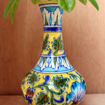 "Indian Handmade Elegant Leaf Design Flower Pot, ""Blue Pottery Art"" Flower Vase"