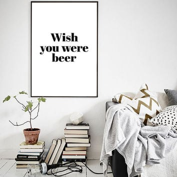 "Wish You Were Bear Pink Floyd Wordplay Funny Poster Black White Print Affiche Typography Design 24x36"", 70x100, 50x70, A4"